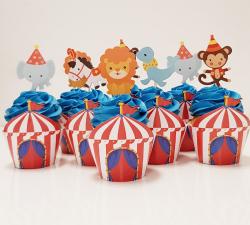 cupcake à thème chapiteau du cirque et ces animaux_1