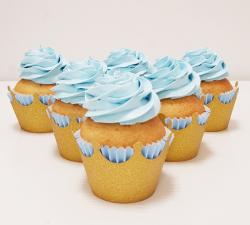 cupcake à thème  couronne doré bleu ciel baby shower_1