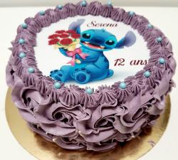 gâteau decoré avec impression alimentaire  personnalisé stitch anniversaire_1