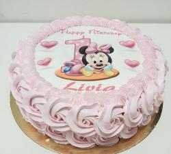 gâteau decoré avec impression alimentaire  personnalisé bébé minnie_1