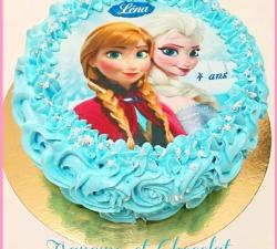 gâteau decoré avec impression alimentaire  personnalisé reine des neiges_2