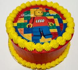 gâteau décoré impression alimentaire personnalisé lego_1