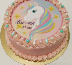 gâteau décoré impression alimentaire personnalisé licorne_1