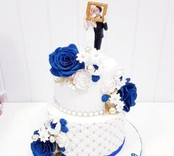gâteau mariage personnalisé bleue et or_1