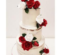 gâteau mariage personnalisé rose blanche et rouge_1