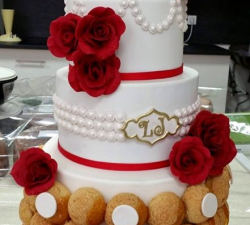 gâteau mariage personnalisé rose rouge_1