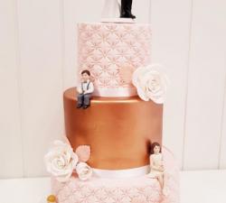 gâteau mariage rose et bonze_1